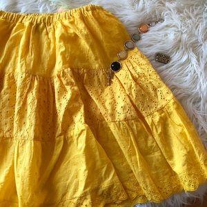 Yellow eyelet skirt